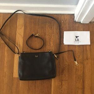 Lo and Sons Pearl Black Lavender Leather Crossbody